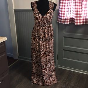 Attention Pink & Brown Floral Print Maxi Dress